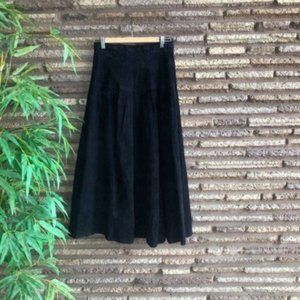Vintage Black Suede Dropped Waist Maxi Skirt